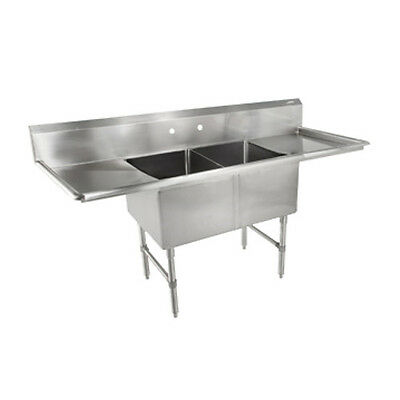 "John Boos 2B18244-2D18 Two Compartment Sink w/ Two 18"" Drainboards"