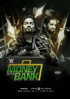 Money In The Bank 2016 Glossy Wrestling Poster WWF WCW Dean Ambrose Roman Reigns