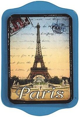 "Tray - ""Paris"" Vintage Eiffel Tower & Stamp Design , 8 1/4"" x 5 1/2"", Tin,"