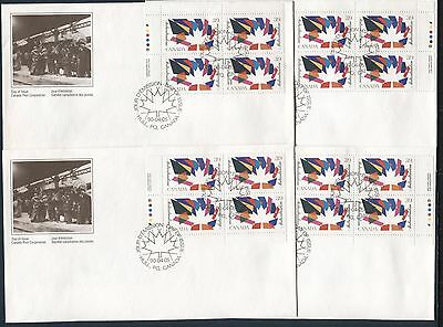 200 YEARS OF JEWISH LIFE IN CANADA 1990 Scott 1270 ALL 4 PLATE BLOCKS ON 4 FDC'S