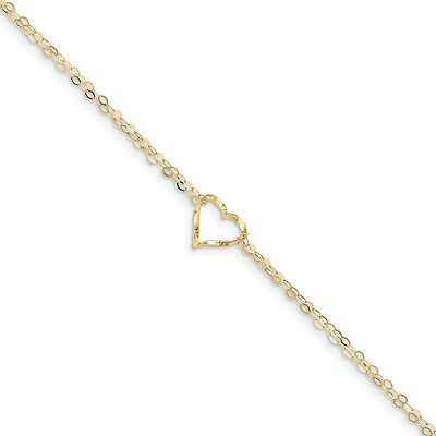 14k Yellow Gold 9in Double Strand Heart Anklet