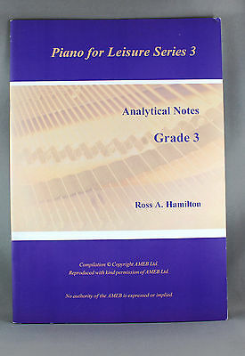 Piano For Leisure Series 3 Analytical Notes Grade 3 by Ross A.Hamilton-Brand New