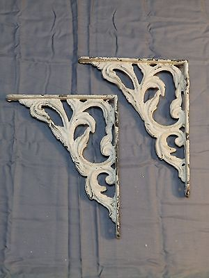 Antique Cast Iron Shelf Brackets Decorative Leafy Old Vintage Hardware 1307-16