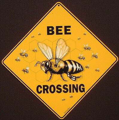 BEE CROSSING SIGN aluminum  print decor  hive apiary honey painting picture home