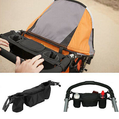 Safe Baby Stroller Cup Holder Console Tray Pram Hanging Black Bag Bottle Holder