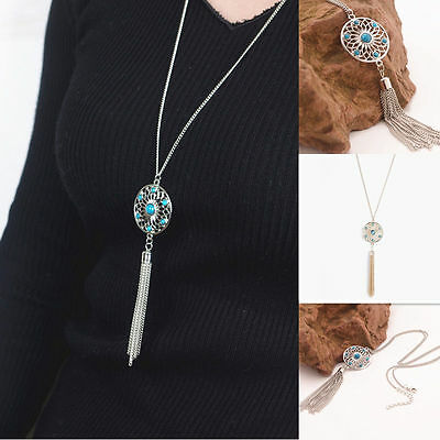 Women Long Chain Retro Turquoise Tassels Round Pendant Necklace Fashion Jewelry