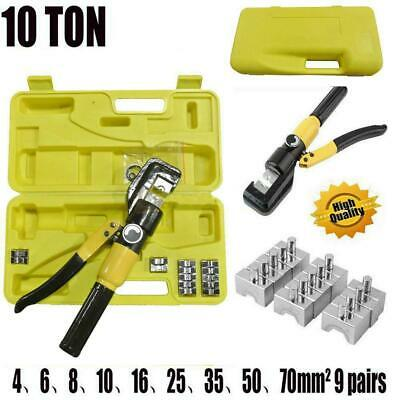 Hydraulic Crimping Tool Kit 10T Cable Crimper Dies Wire Terminal Crimp Lug Set