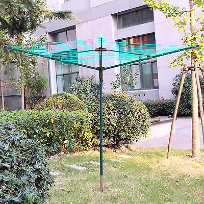 4 Arm 50M Rotary Outdoor Washing Line Airer Clothes Dryer + Free Cover & Spike