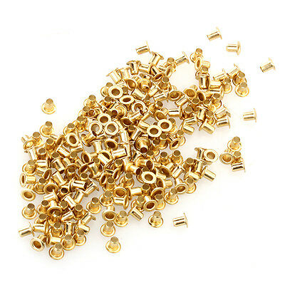 200pcs Eyelets Grommets Gold 2mm for Leather Shoes Belts Bags Clothes Canvas