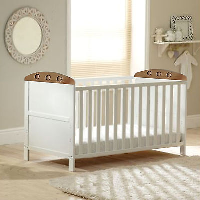 New 4Baby White / Beech Playball Cot Bed Easily Converts Into Junior Bed