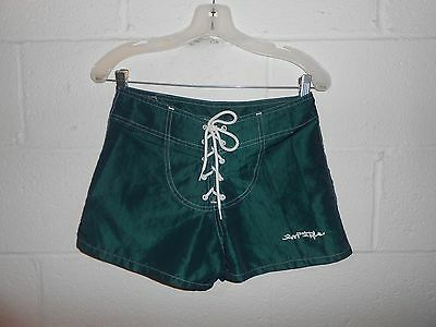 """Vintage Green Iridescent Women's Surf Style Lace Up Board Shorts 29"""""""