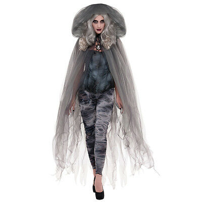 Adults Halloween Ghost Stories Sheer Fancy Dress Costume Accessory Hooded Cape