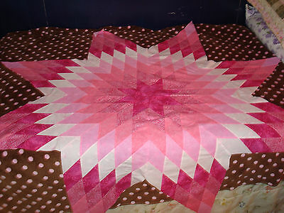 COLOR WHEEL #1 - PINK STAR Quilt Top - Machine Pieced, Made in USA