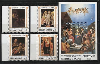 PAINTINGS FAMOUS MASTERS CHRISTMAS SIERRA LEONE 1990 Sc 1284-86,1291, 1293. MNH