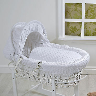 New 4Baby White Dimple White Wicker Deluxe Padded Baby Unisex Moses Basket