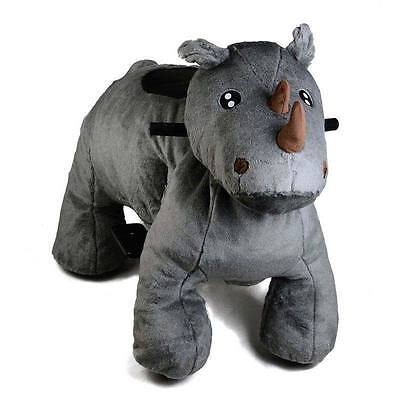 Coin Operated Electric Rhino Animal Scooter, Plush Mall Ride On Toy