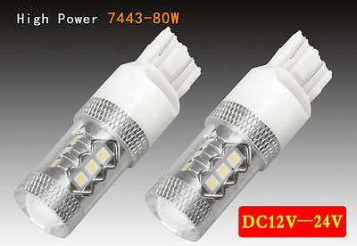 2x White 16 LED Bulb 80W 7443 7440 T20 Tail Stop Brake Turn/Signal Light Lamps