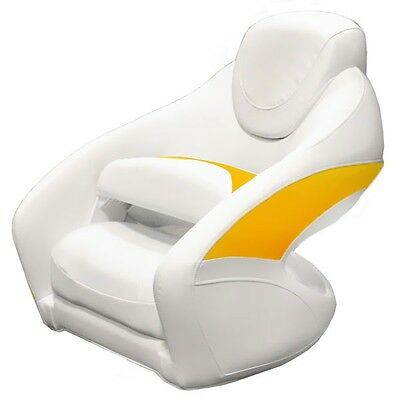 Crownline Boat Deluxe White / Yellow Marine Bucket Bolster Seat Chair