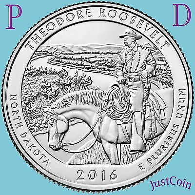 2016 P&d Theodore Roosevelt National Park (Nd) Two Quarters Set Uncirculated