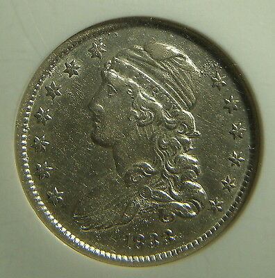 1833 Bust Quarter NGC AU55 Corroded Die and Deep Clash