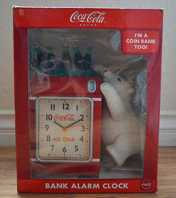 NEW Unopened Coca Cola Bank Alarm Clock w/ Polar Bear