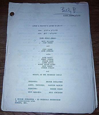 Price Cut! Laugh In '68 Billy Barnes' Orig Script! John Wayne  Harry Belafonte!