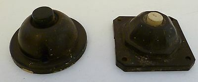 2 Genuine Restoration Real Bakelite Doorbell Push Buttons Cat 303, Vtg Antique