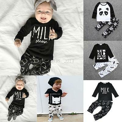 Baby Kids Boys Toddlers Summer Clothes Printed T-shirt Tops+ Harem Pants Outfits
