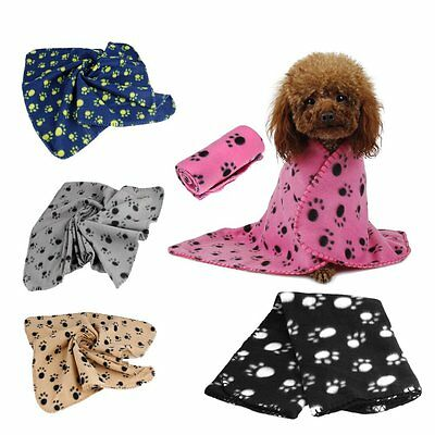 "Soft Warm Paw Print Fleece Pet Blanket Dog Cat Puppy Bed Mat Cover 23.6"" x27.6"""