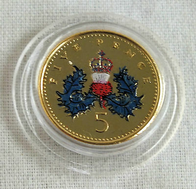 2003 Qeii Five Pence Layered In Pure Gold And Accented In Full Colour