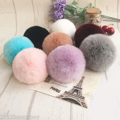 1Pc Soft Fluffy Faux Rabbit Fur Ball Pendant Bag Charm Pompom Key Chain Phone