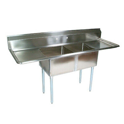 "John Boos E2S8-1620-12T18 E-Series Two Compartment Sink w/ Two 18"" Drainboards"