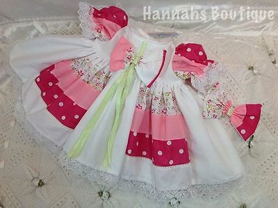 Hannahs Boutique 0-3 Month Baby Frilly Dress & Headband Set Or Reborn 20-24""