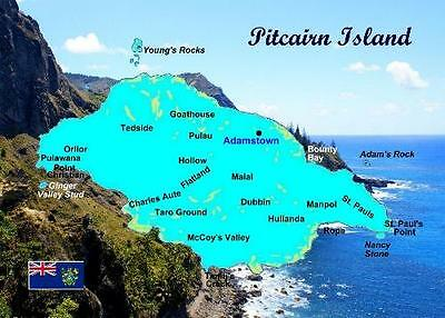Pitcairn Island Map New Postcard