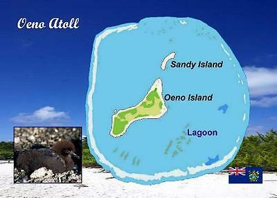 Pitcairn Oeno Island Map New Postcard