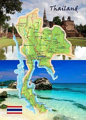 Thailand Country Map New Postcard