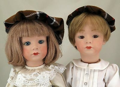 """2 Dolls Pair 18"""" Boy & Girl Reproduction Ernst Heubach Heads Compo Seeley Bodies"""
