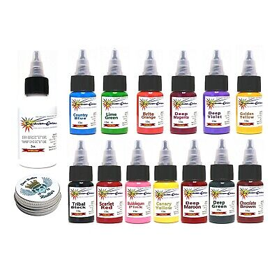 AUTHENTIC STARBRITE 14 Color Tattoo Ink Set Kit Starbright 1/2oz