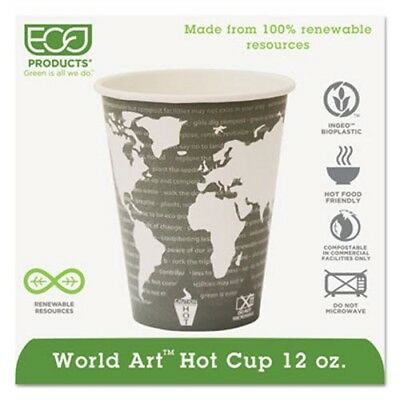 World Art 12-oz. Compostable Hot Cups, 1,000 Cups (ECP EP-BHC12-WA)
