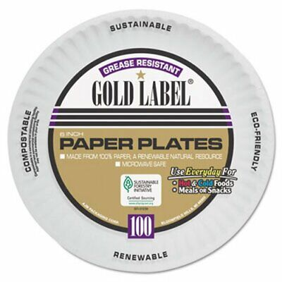 """Gold Label 6"""" Coated Paper Plates, 1,200 Plates (AJMCP6OAWH)"""