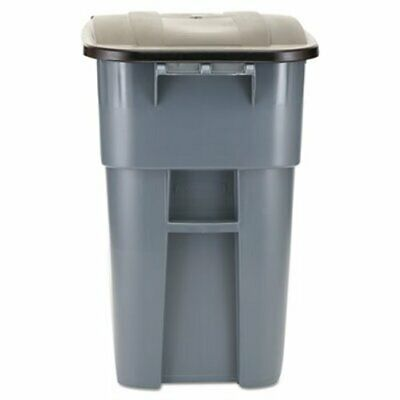 Rubbermaid 9W27 Brute 50 Gallon Rollout Trash Can w/Lid, Gray (RCP 9W27 GRA)