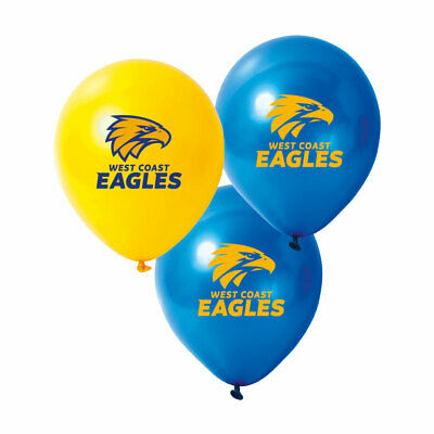 Official AFL West Coast Eagles Birthday Party Latex Helium Balloons (10 Pack)