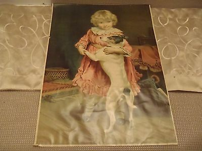 """antique chromolithograph  Girl and Dog  c.1897 20"""" X 14"""""""