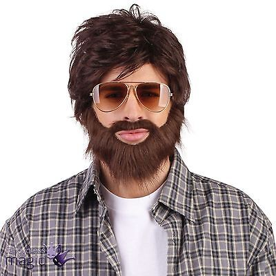 *Adult Mens Hangover Alan Zach Wig With Beard Stag Vegas Fancy Dress Accessory*