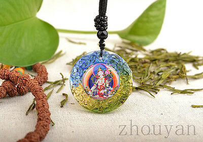 Avoid All Sufferings! Blessed Wish Fulfilling Colored Glaze Pendant White Tara