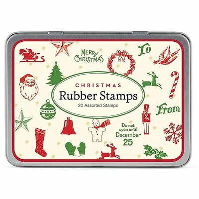 Cavallini Christmas Mini Rubber Stamp Set x 20 Candy Cane Stocking Bell Craft