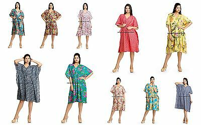 New Floral 100% Cotton Kaftan Dress Maxi Short Tunic Batik One Size Plus Beach
