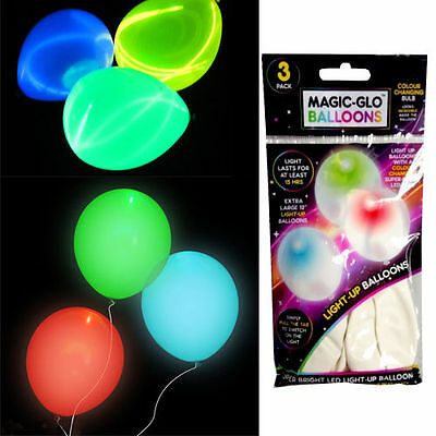 """12"""" Magic-Glo White Party Fun Balloons - Super Bright Led Lasts 15 Hours 3 Pack"""