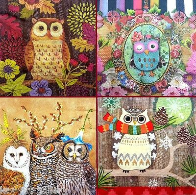 4 Single Vintage Table Paper Napkins for Decoupage Lunch Party Decopatch Owls 1