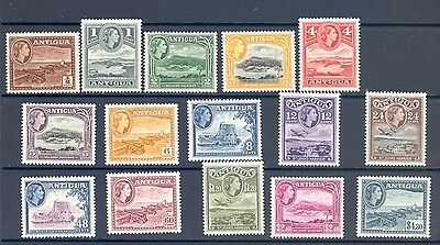 ANTIGUA SG 120a-134 1953 Q E II DEFINITVE  SET OF 14. MNH